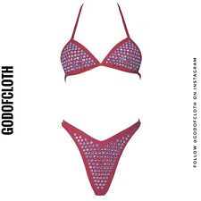 Chanel Red Rhinestone Bikini