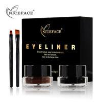 2in1 Brown+Black Eyeliner Gel & Eyebrow Powder Makeup Waterproof Set with Brush