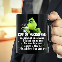 Grinch Cup Of Fuckoffee Black Ceramic Funny Grinch Coffee Mug Gift 11oz 15oz