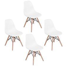 Set 4 sedie replica DSW Eiffel in polipropilene BIANCO e gambe in legno rinforza