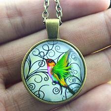 Vintage woodpecker Cabochon bronze Glass Chain Pendant Necklace Jewelry #48