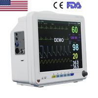 "Portable 6 Parameter 12"" Patient Monitor Vet Vital Signs NIBP SPO2 ECG TEMP RESP"
