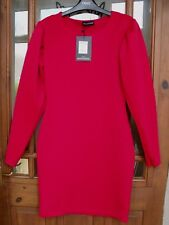 SALE Next Pretty Little Thing Label Red Long Sleeve Bodycon Dress Size 10 NEW