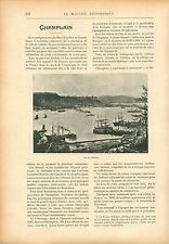 Panorama Port de Quebec Canada Samuel de Champlain GRAVURE ANTIQUE  PRINT 1908