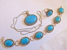 ESTATE .925 STERLING SILVER ARTISAN TURQUOISE BRACELET NECKLACE RING SZ 7 SET