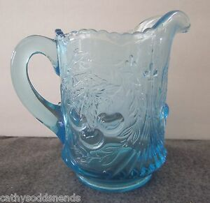 L.G WRIGHT BLUE WREATHED CHERRY PATTERN CREAMER PITCHER