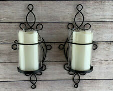 Set Of 2 Black Metal And Glass Flameless Candle Wall Sconce