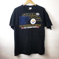 NFL Mens Black Super Bowl XL Pittsburgh Steelers AFC Champs T Shirt Size Lg 2006