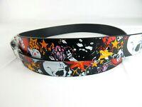Mens Black Skulls Hearts Stars Designs Leather Metal Buckle Belt New
