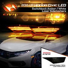 LED Laser Switchback Amber / White SMOKED Side Markers Lights 16-17 Honda Civic
