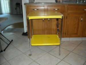 Vintage Yellow Metal Kitchen/Utility Cart With Electric