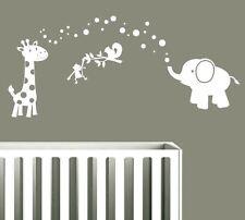 Jungle Animals - Elephant & Giraffe - Wall Stickers Cute Baby Animals Monkey