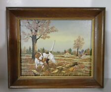 "ORIGINAL OIL PAINTING BY C CARSON HUNTING DOG POINTER SIGNED FRAMED 10"" x 12"""