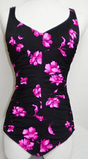 Vintage Maxine of Hollywood Black & Pink Floral Print Swimsuit Bomb Shell 10