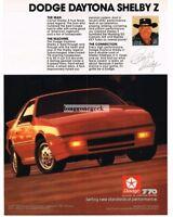 1987 Dodge Daytona Shelby Z Red Carroll Shelby Vtg Print Ad