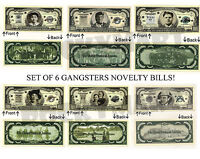 (Lot Of 6) Gangsters Capone Bonnie Clyde Babyface Floyd Novelty Bill Notes Money