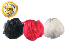 3 Pack Shower Loofah Sponge by Monthly Loofy (Black, Pink, White)