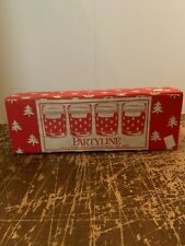 4 Vintage LE Smith Partyline Christmas Tree 14 Ounce Rocks Tumbler With Box