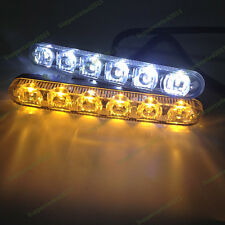 2x 6 LED White and Amber Dual color Front Turn Signal DRL Daytime Running Light