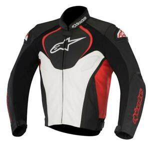 Alpinestars Jaws Motorcycle Motorbike Leather Jacket - Black / White / Red NEW