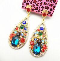 Colorful Crystal Rhinestone Teardrop Betsey Johnson Drop Dangle Earrings