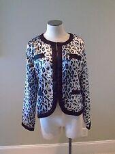 Michael Simon Animal Print Short Jacket New. black Grey Gray M Quilted Lining