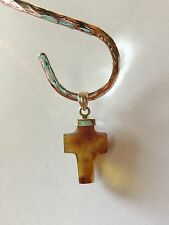Red Amber Cross Pendant on Sterling Silver by BleuVerd Group