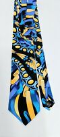 "Rush Limbaugh Blue Gold Art Neuveau Ribbons Mens Silk Tie 58"""