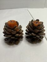 Vintage pair of Heavy Vintage Brass Pine Cone Candle Holder made in Taiwan
