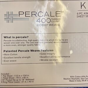 """6 Piece Premium Percale 400-Thread-Count KING Set. """"Art Of The Weave"""" - $150 Ret"""