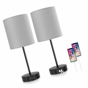 Set of 2 Touch Control Table Lamps Dimmable Desk Lamp with 2 USB Ports & AC O...