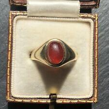 Garnet Cabochon Signet Ring Vintage 9 Carat Gold