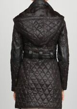 Ark Co Anthropologie Elbow Patch Jacket Size L Black Long Quilted Hooded Coat