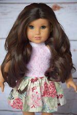 """Custom Doll Wig for 18"""" American Girl doll Heat Safe Gotz rainbow Wig 10-11"""" Cap"""