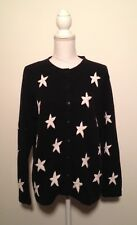 The Quacker Factory Women's Black Embroidered Star Sweater Size Medium M