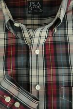 Jos A Bank Men's Red Ivory & Black Plaid Cotton Casual Shirt L Large