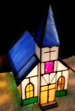 Gorgeous Stained Glass Tiffany Style Church/Steeple Night Light!