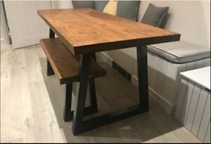 Industrial Dining Table and Bench 5CM Thick Solid Wood Black Metal Leg Hand Made