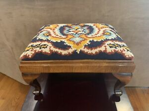 Multi-Color Antique Needlepoint Footstool
