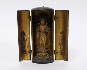 Antique Japanese Wood Lacquered Zushi Buddha Traveling Shrine Temple