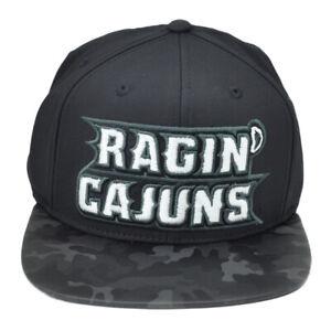 NCAA Louisiana Ragin Cajuns VS75Z Camo Flat Bill Brim Hat Cap Snapback Black