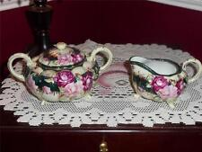 VNTG. NIPPON HAND PAINTED SUGAR AND CREAMER SET AMAZING FOOTED