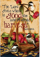 NEW EVERGREEN DOUBLE SIDED GARDEN HARVEST FLAG 12.5X 18 LORD GIVES WHAT IS GOOD