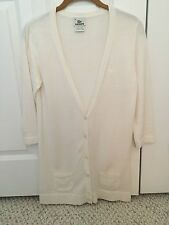 Lacoste Cream Long Cardigan Sweater Womens Size 38  3/4 Sleeve Cotton/Cashmere