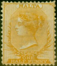 Malta 1878 1/2d Yellow-Buff SG16 P.14 x 12.5 Bon MTD Excellent État