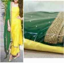 latest Bollywood Indian Designer haldi Wear silk long kameez pant plazzo dresses