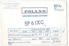 1990 QSL Ham Radio Card SP6IXC Walbrzych Poland 1000 Polska Stamp 28mhz