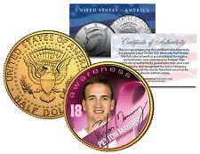 Breast Cancer Awareness PEYTON MANNING NFL Half Dollar 24K Coin *DENVER BRONCOS*