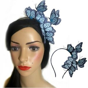 Flying Blue Butterfly Headband Fascinator Rockabilly 50's Burlesque Insect xx