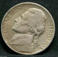 1938 D Jefferson Nickel, Key, Circulated, Low Mintage-5.3 Mil, Over 1000 Sold!